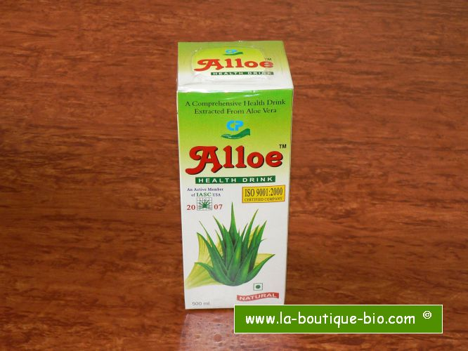 <b>JUS D'ALOE VERA BIO</b><br>Aloe Barbadensis - ALLOE<br>VAI - CULTURE BIO<br>Flacon de 500 ml