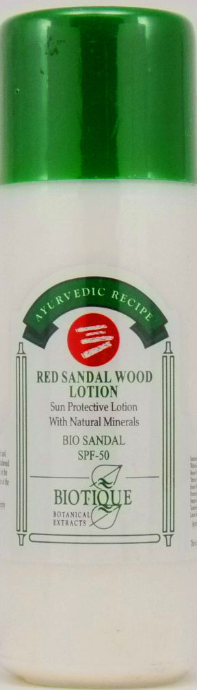 <b>PROTECTIVE SUN LOTION SPF-50</b><br>BIO SANDAL SPF-50<BR> RED SANDALWOOD CREAM<br>Red Sandalwood and natural minerals<br>210 ml