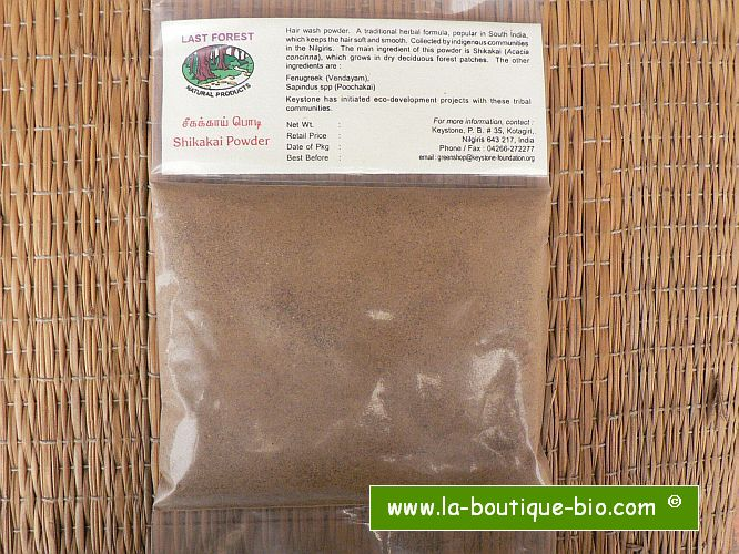 <b>SHIKAKAI - POWDER</b><br>Acacia Concinna<br>KEY - WILD AND ORGANIC<br>100 grs
