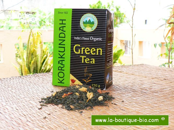 <b>THE VERT JASMIN KORAKUNDAH<BR>JASMINE GREEN TEA</b><br>CULTURE BIO certifiée<br>250 grs