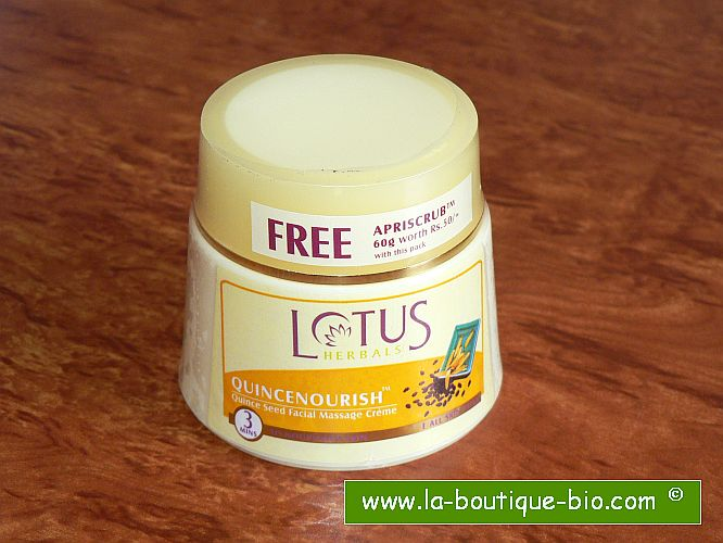 <b>CREME POUR MASSAGE FACIAL</B><BR>LOTUS - QUINCENOURISH<BR>Graines de Coing<br>50 grs