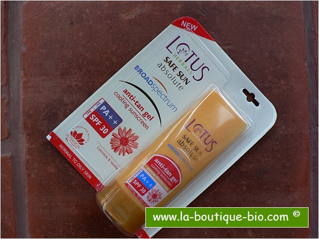 <b>ANTI-TAN GEL</B><BR>LOTUS - SAFE SUN ABSOLUTE</b><br>COOLING SUNSCREEN<BR>PA++ / SPF 30<BR>60 grs