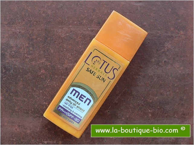 <b>CREME SOLAIRE POUR HOMME</B><BR>LOTUS - SAFE SUN MEN<BR>ADVANCED DAILY UV SHIELD<BR>PA+++ / SPF 30<BR>60 g