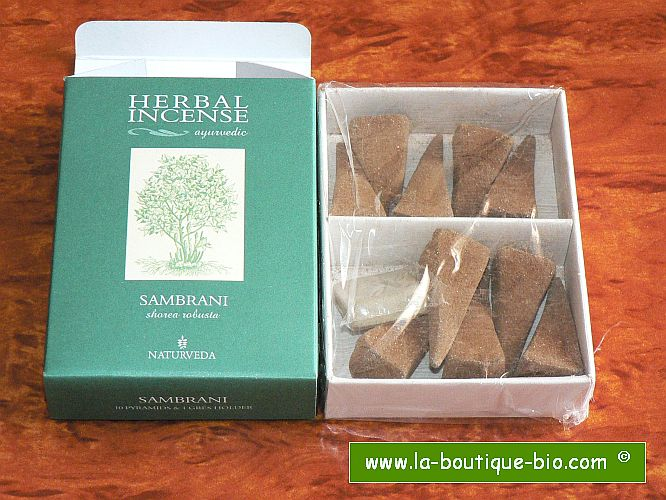 <B>SAMBRANI</B><BR>NAT - AYURVEDIC INCENSE<BR>10 pyramids + Holder