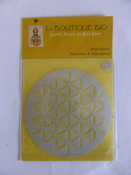 <b>STICKER FLEUR DE VIE argent</B><BR>STICKER FLOWER OF LIFE silver<BR>