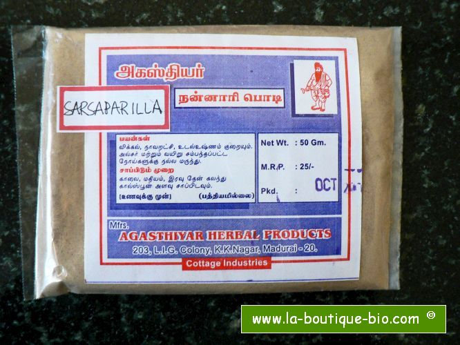 <b>SARSAPARILLA - NANNARI - POWDER</b><br>Hemidesmus indicus<br>AGA - ORGANIC AND WILD<br>25 grs