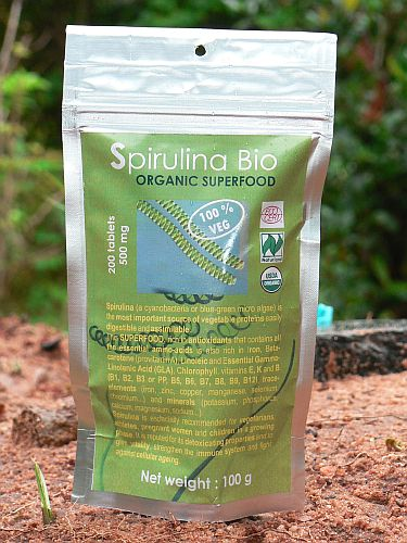 <b>SPIRULINA ORGANIC CERTIFIED<BR>HALAL and KOSHER</b><br>OFF - Spirulina Platensis<br>200 tablets - 100 g