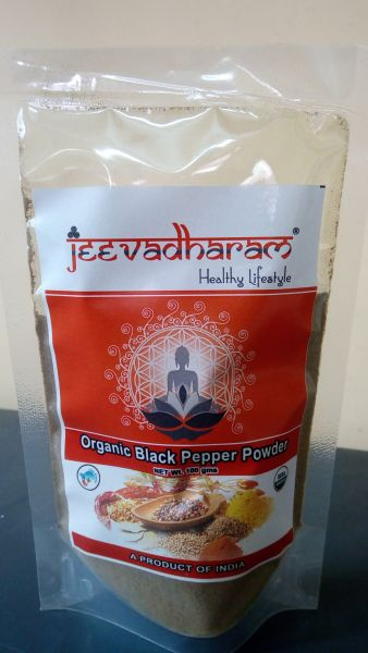<b>PEPPER BLACK - POWDER</b><br>jeeva - BLACK PEPPER POWDER<BR>ORGANIC CULTIVATION CERTIFIED<br>100 grs