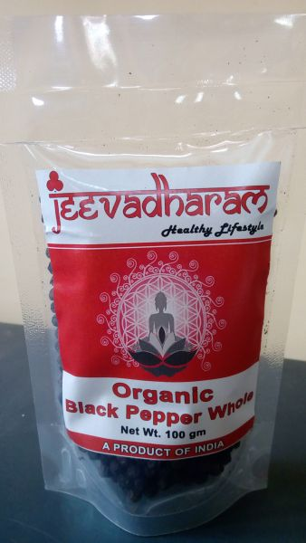 <b>BLACK PEPPER WHOLE</b><br>jeeva - WHOLE BLACK PEPPER<BR>Piper Nigrum - Milagu<br>ORGANIC CERTIFIED<BR>100 grs