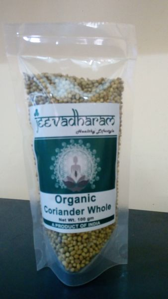 <b>CORIANDER WHOLE</b><br>ORGANIC CULTIVATION CERTIFIED<br>jeeva - CORIANDER WHOLE<BR>100 grs