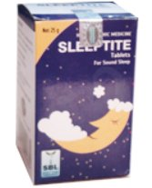<b>SLEEPTITE - Sleeplessness</B><br>1 bottle of 25 grs - tablets<br> SBL cie
