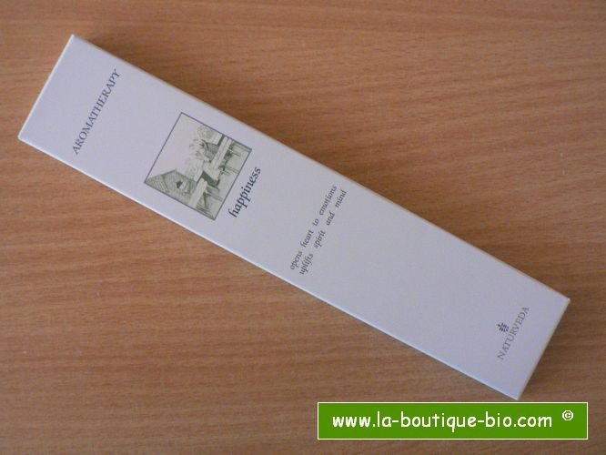 <b>HAPPINESS</b><br>NAT - AROMATHERAPIC INCENSE<BR>WITH ESSENTIAL OILS<br>12 sticks