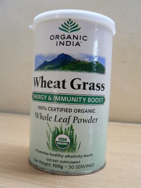 <b>ORGANIC WHEATGRASS<BR>CERTIFIED ORGANIC - HALAL</b><br>ORGANIC INDIA - WHEATGRASS<br>Powder - 100 g