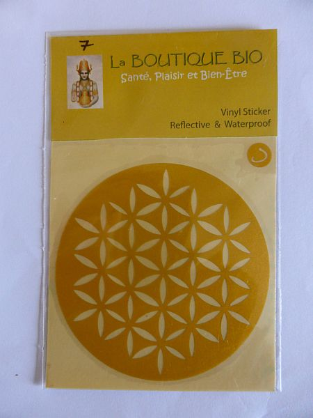 <b>STICKER FLEUR DE VIE jaune</B><BR>STICKER FLOWER OF LIFE yellow<BR>