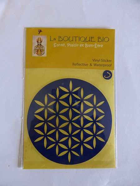 <b>STICKER FLEUR DE VIE bleu</B><BR>STICKER FLOWER OF LIFE blue<BR>