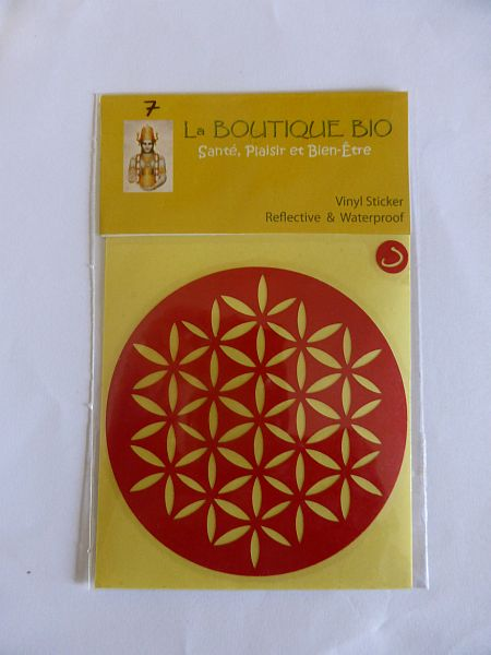 <b>STICKER FLEUR DE VIE rouge</B><BR>STICKER FLOWER OF LIFE red<BR>