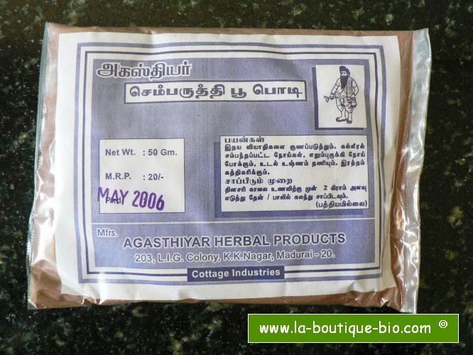 <b>JAPAPUSHPA - SEMBARUTHI - POUDRE</b><br>Hibiscus Rosa-Sinensis<br>AGA - SAUVAGE ET BIO<BR>25 grs