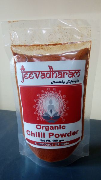 <b>RED CHILI POWDER</b><br>ORGANIC CULTIVATION CERTIFIED<br>MEDIUM HOT<BR>jeeva - RED CHILI POWDER - MEDIUM<BR>100 grs